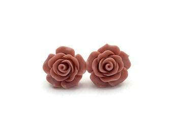 Dusty Pink Rose Earrings, Retro, Rockabilly, Vintage Inspired, Pinup, Flower Studs