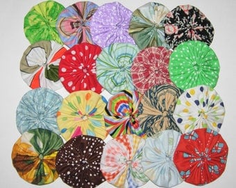 "Fabric YoYos, 20 Multi Color Assortment, 2"" Size, Crafting, Appliques, Embellishments"