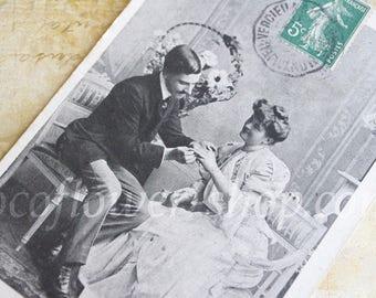 Black White Love Cards Vintage image Antique Couple in Love - French Vintage postcards