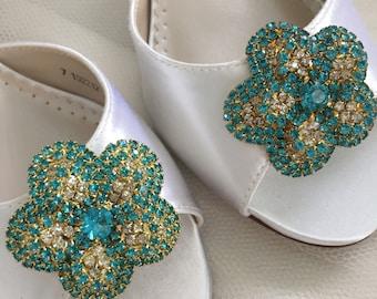 Wedding Shoes - Wedding Shoe Clips - Aqua Blue Shoe Clips - Vintage Gold Wedding Shoes - Vintage Wedding Shoe Clips - Vintage Wedding Shoes