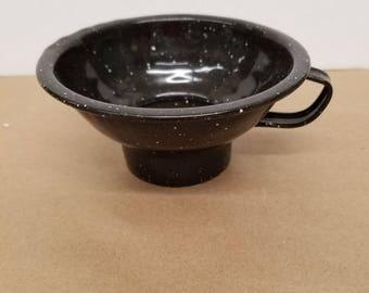 Vintage Black Enamelware Funnel