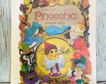 Pinocchio Random House Pop-Up Classic Book, Vintage Children's Pop Up Fairy Tale Hardback