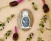Nature art // one painted stone // Celestial Owl