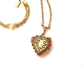 """Vintage Victorian Gold Faux Ivory Heart Locket - 24"""" Cable Chain - 1 1/4"""" Heart Locket - Signed 1928"""