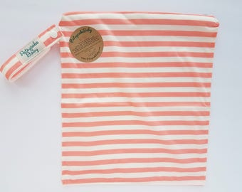 Wet bag, water resistant, cloth diaper bag, swimsuit, beach, baby, Medium, stripes, coral, pink, white