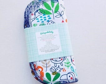 Cotton flannel baby wipes or wash cloths with jungle animals, double layer, set of 6, monkey, bees, tigers
