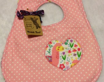 Handmade Baby Bib Quilted Flannel Heart Applique Llama Pink