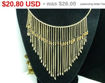 Memory Wire Bib Necklace - Vintage 1970's - 1980's Goldtone Seed Bead Dangling Chains - Sparkling Runway Design