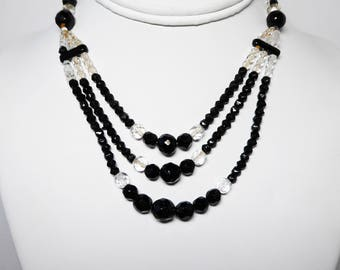 Art Deco Black and White Necklace - Black and Clear Faceted Crystal Bead Necklace - SplitTriple Strand Beaded Choker Style - Vintage 1920's