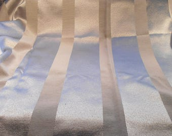 Vintage  Fabric Pale Blue Gray Striped Remnant