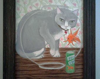 "Whimsical Gray Cat and Goldfish Bowl Oil Painting Whimsical Cat Series Framed 6""X 8"" Canvas Board Gray Frame 7.6"" X 9.6"""