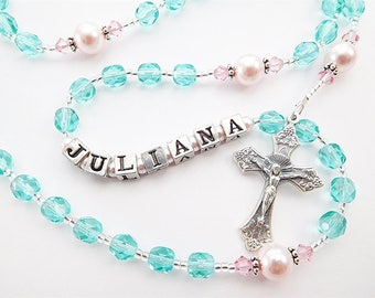 Aqua and Pink Personalized Rosary Beads - Baptism, First Communion, or Confirmation - for a girl