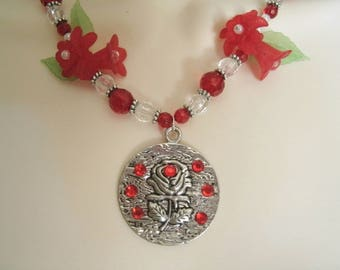 Red Rose Necklace, boho jewelry rose jewelry bohemian jewelry hipster necklace gypsy pin up boho necklace nature necklace bohemian necklace
