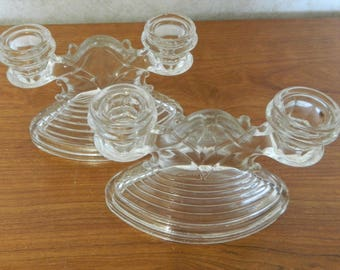 L.E. Smith Glass Co. NO. 38 Horizontal Rib Crystal Double Candle Holder Candles