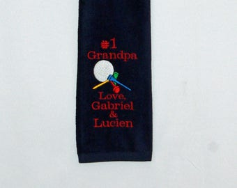 Golf Towel, Grandparent Gift, Custom Personalize With Kids Name, Nana, Grampy, PopPop, Pop, Grampa, No Shipping Fee, Ships TODAY, AGFT 1057