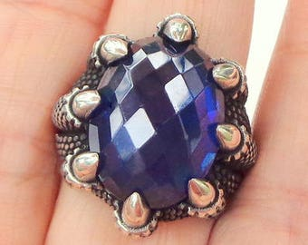 Size 9, Men's Blue, 22 Carat, Sapphire Ring, Animal Claw,  Sterling Silver Ring, Natural Gemstone, Genuine Sapphire Ring