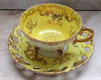 Yellow tea cup ~ gold tea cup ~ Shafford tea cup ~ lusterware teacup ~ Shafford Japan ~ Art Deco tea cup ~ pearlized Japanese footed tea cup