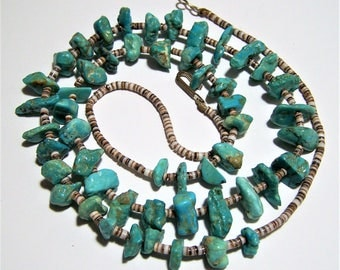 Turquoise Chip Bead Necklace, Heishi Shell Bead Necklace, Blue Bead 25in Necklace, Southwestern Style Necklace, Vintage Jewelry 617