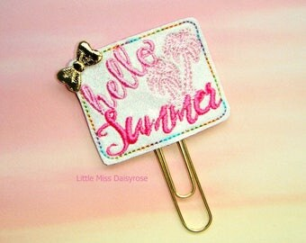 Hello Summer Glitter Planner Clip Paperclip in pink and white