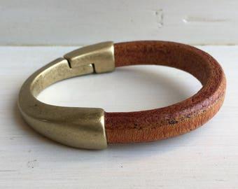 Thick COGNAC brown leather cuff BRACELET half leather, half metal magnetic antique BRASS clasp bracelet