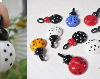 LADYBUG LADY BUG Pendants -  lot of 15  -  Focal Bead Wholesale Assorted Colors
