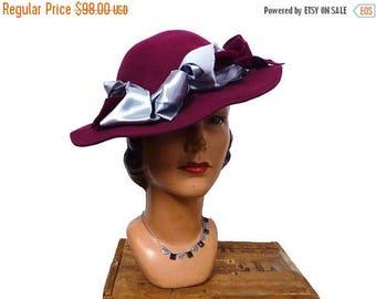 Summer Sale 1940s Ruby Ross Burgundy Felt Hat