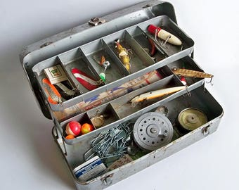 Mid Century My Buddy Metal Tackle Box full of Vintage Tackle - Lures, Fly Reel, Fishing Barometer & More