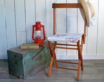 "Mid Century Wood & Canvas Folding Camp Stool ""Beautiful Rustic Patina"""