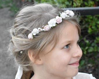 Pink and Ivory Flower Crown - Blush Pink and Ivory Flower Crown - Flower Girl - Off White - Twig - Woodland - Toddler - Wedding