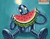 SALE Robowatermelon - 8 x 8 art print - funky retro robot eating watermelon teal blue pink
