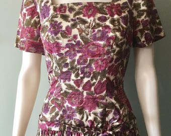 Beautiful 1950's Pink Floral Drop Waist Dress