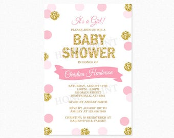 Pink and Gold Polka Dot Baby Shower Invitation, It's a Girl, Gold Glitter, Personalized, Digital Printable File or Printed
