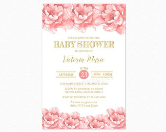 Pink Peony Floral Baby Shower Invitation, Girl Baby Shower Invitation, Personalized, Printable or Printed