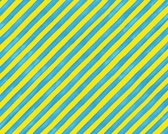 NEW Loralie Designs Buttonheads Yellow/Turquoise Bias Stripe Bold fabric - 1 yard