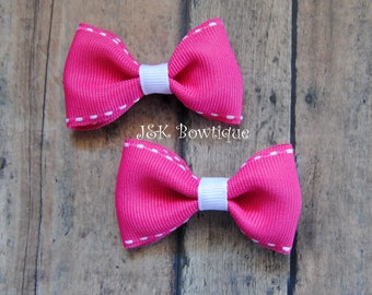 Mini Hair Bow, Hair Bow, Girl's Hair Bow, Hot pink with white, pig-tails