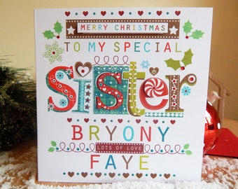 Personalised Sister Christmas card Merry Christmas to a special Sister!