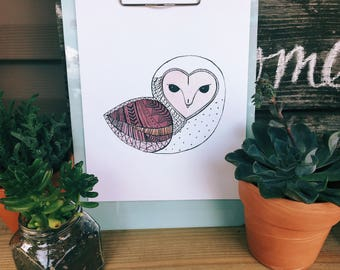 White Owl Printable Art Print 8x10