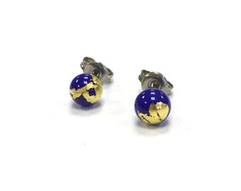 Lapis Blue Glass and Gold Stud Earrings UK SRA