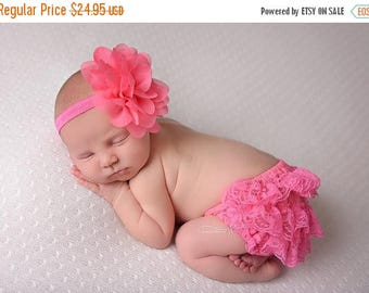 ON SALE Fuchsia Bloomers and headband, lace bloomers, diaper cover, newborn photo prop, ruffle bloomers