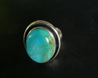 Turquoise Statement Ring - Handmade Sterling Silver and Green Turquoise Boho Style Statement Ring - Handmade Turquoise Ring -  Size 7.5