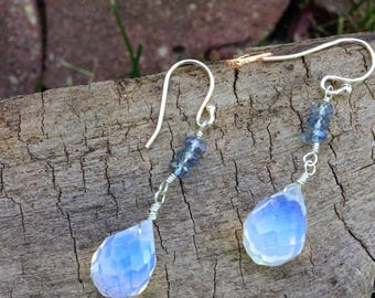 Opalite Briolette Faceted Mystic Blue Quartz Rondelles Sterling Silver Earrings