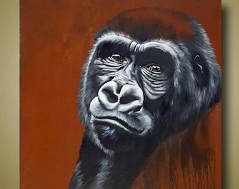 PRINT or GICLEE Reproduction -- Female Gorilla 12x12 -- Congo Fading II by Britt Hallowell