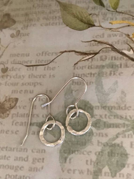 Mini silver hoops, Simple earrings,  round,hammered, circle, fine silver, fused, everyday pierced ear wear