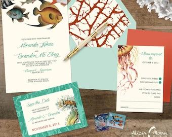 Wedding Invitation Suite: SAMPLE (Fish, Jellyfish, Coral, Crab, Starfish, Lobster, Shells, Aquarium)