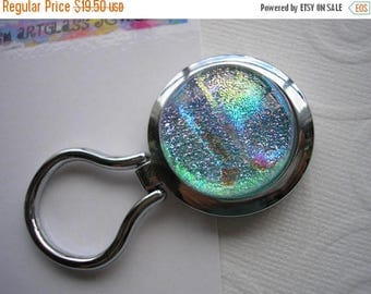 On Sale Iridescent Pastel Nurses Badge Holder Dichroic Glass Kiln Fired Magnetic Brooch Pale Blue Jewelry Converts to Pendant Eyeglass Keepe