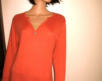 15 % off Super Soft 70 percent Bamboo 30 percent Cotton Coral And Beige Sweater by Haiku with Abalone Button Hardly worn