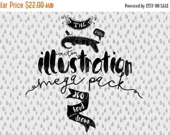 80% OFF Vector Illustrations mega pack - Hand Drawn Clip art - Adobe Illustrator, PSD, PNG - Ready for Watercolor