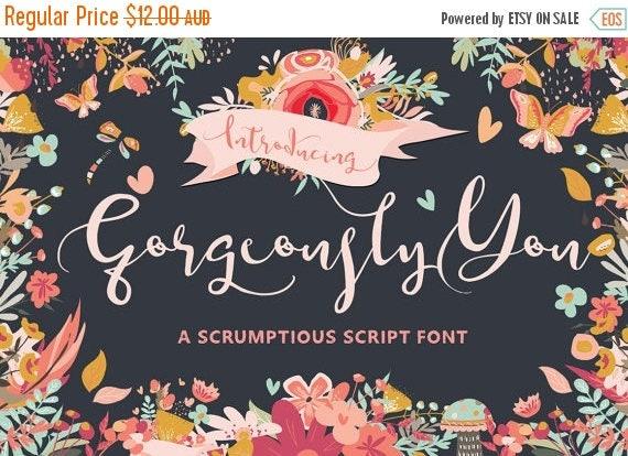 Digital Fonts 80% Off SALE Digital Wedding Font, Gorgeously You, Digital download, Hand drawn script font, modern Calligraphy, Cursive font