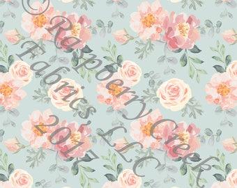Aqua Peach Blush and Cream Floral in Rayon Challis, 1 Yard
