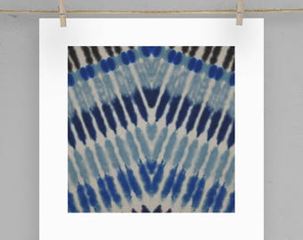 Shibori Print Moroccan Wall Art  5X5 8X8 12X12 Matting Options